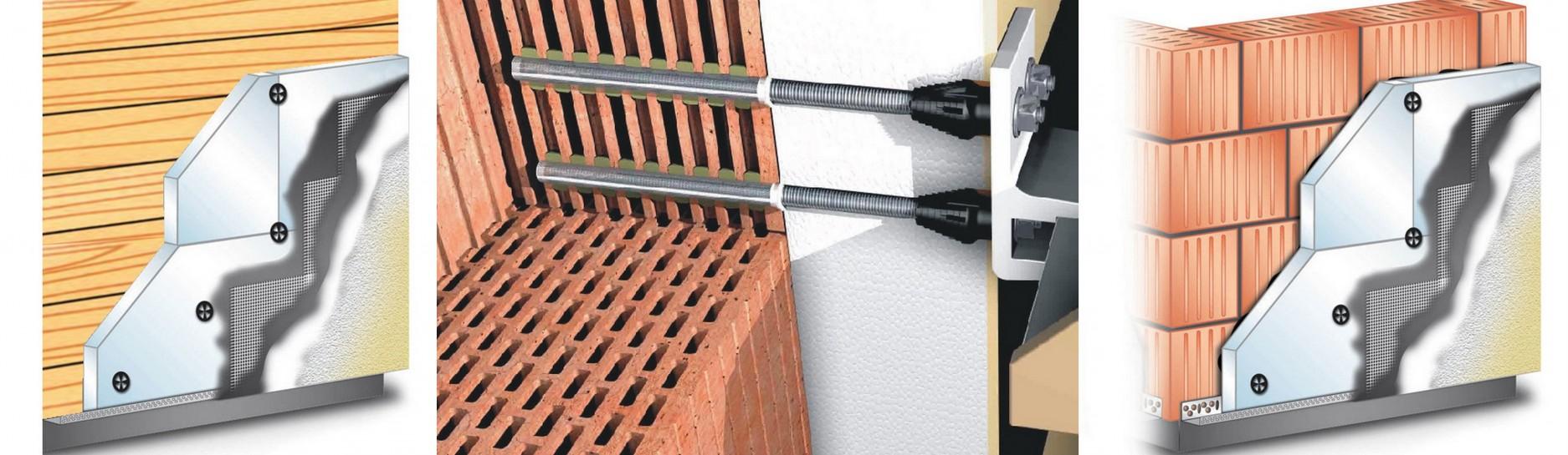 Kotevní materiál pro zateplenou fasádu k instalaci vchodové stříšky.