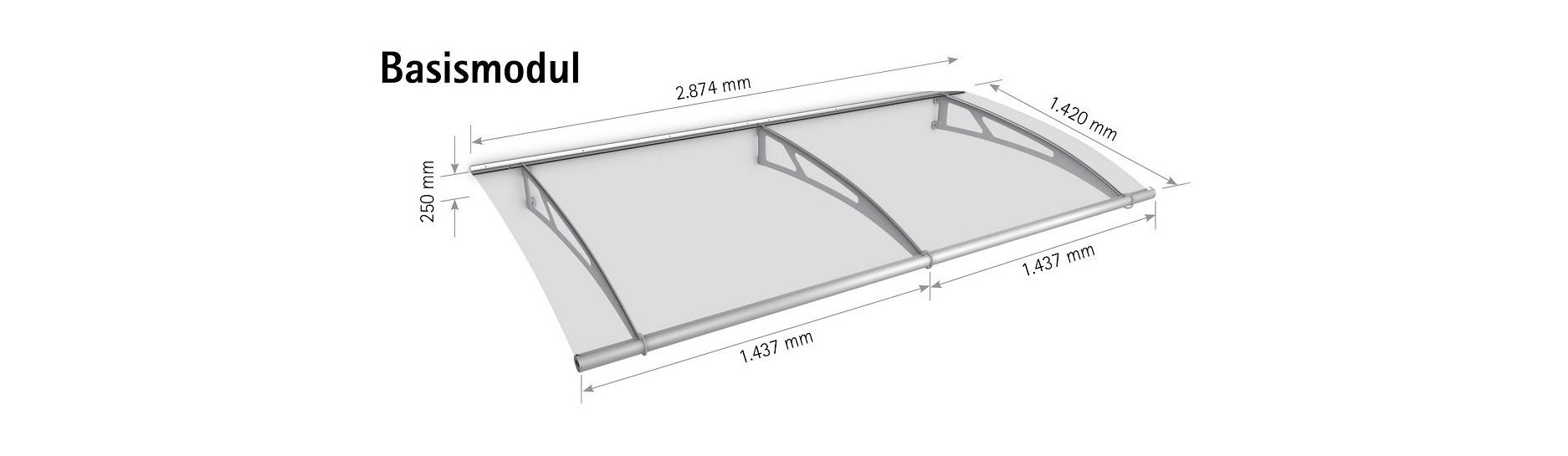 Stavebnicový systém stříška Lightline XL Polymer. Sestavte si maximální vchodovou stříšku.