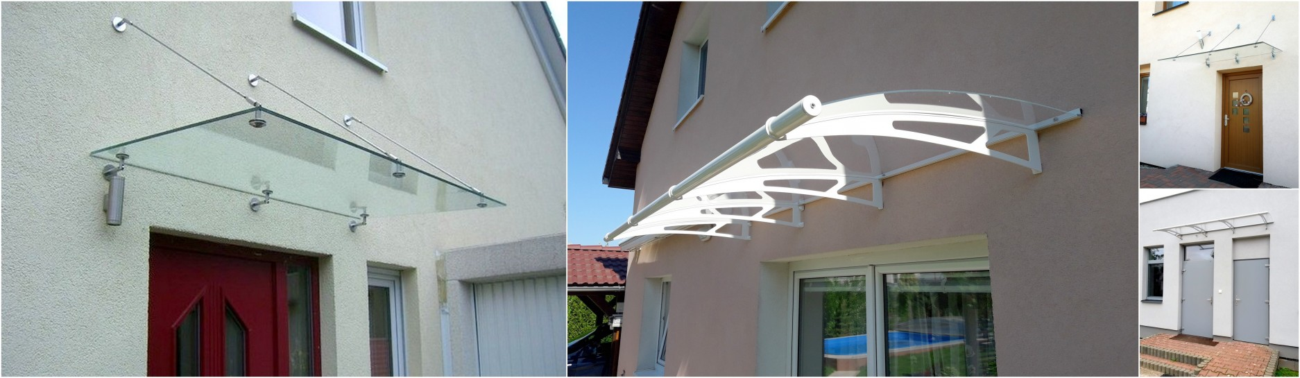 Větší stříška nad vchodové dveře a schody. Stříška pro dveře 130cm - 150 cm.
